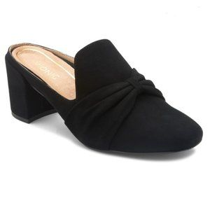 Vionic Orthoheel Black Leather Mules Block Heels